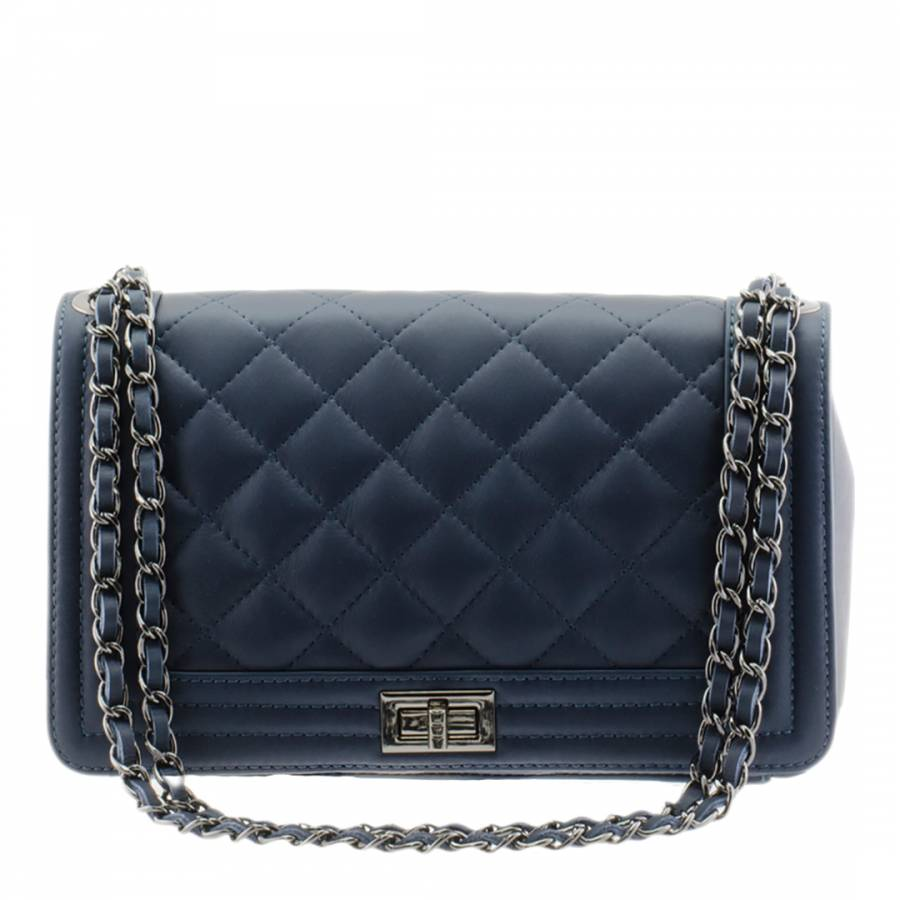 Navy Leather Quilted Chain Strap Shoulder Bag - BrandAlley 76ffd04ac7f54
