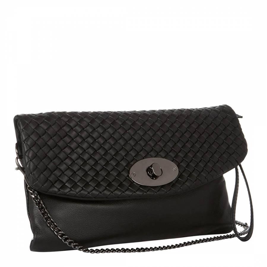 Giulia Massari Black Basket Weave Clutch Bag 5343607c94