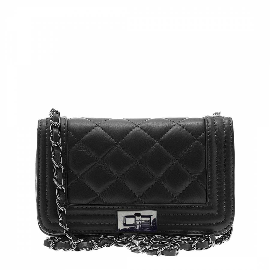 Giulia Massari Black Leather Shoulder Bag dd8037bd3bf79