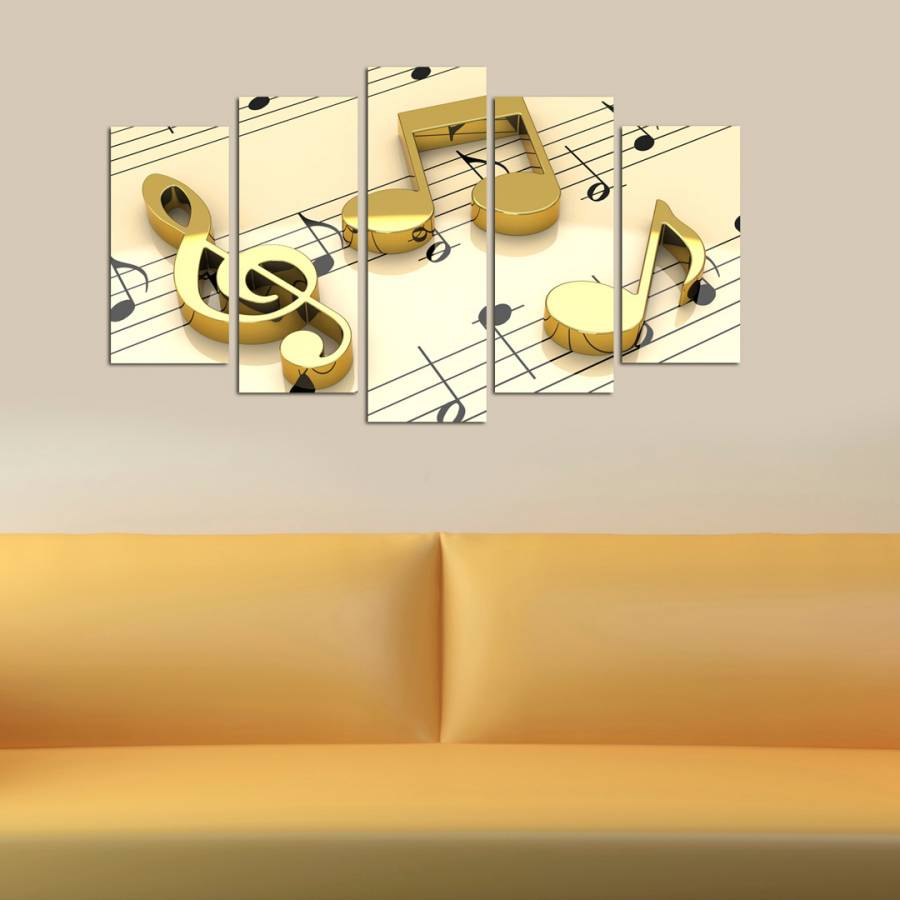 Gold/Beige Five Piece Music Notes Wall Art - BrandAlley