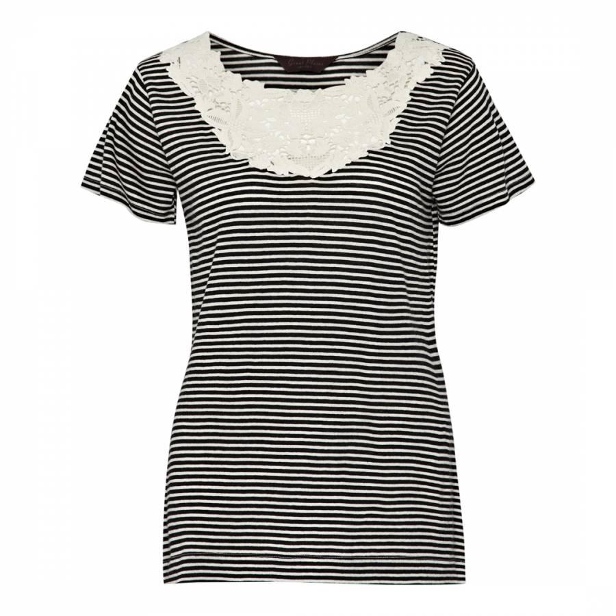 1e43426a797 Black White Sofia Stripe Lace Cotton T Shirt - BrandAlley