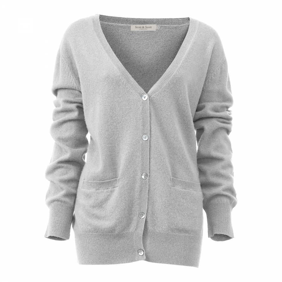 Light Grey Cashmere Boyfriend Cardigan - BrandAlley