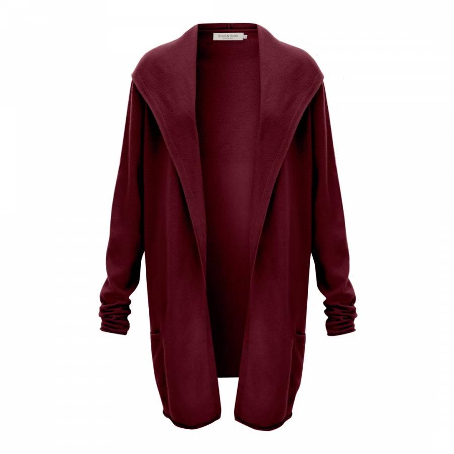 Dark Red Hooded Cashmere Cardigan - BrandAlley