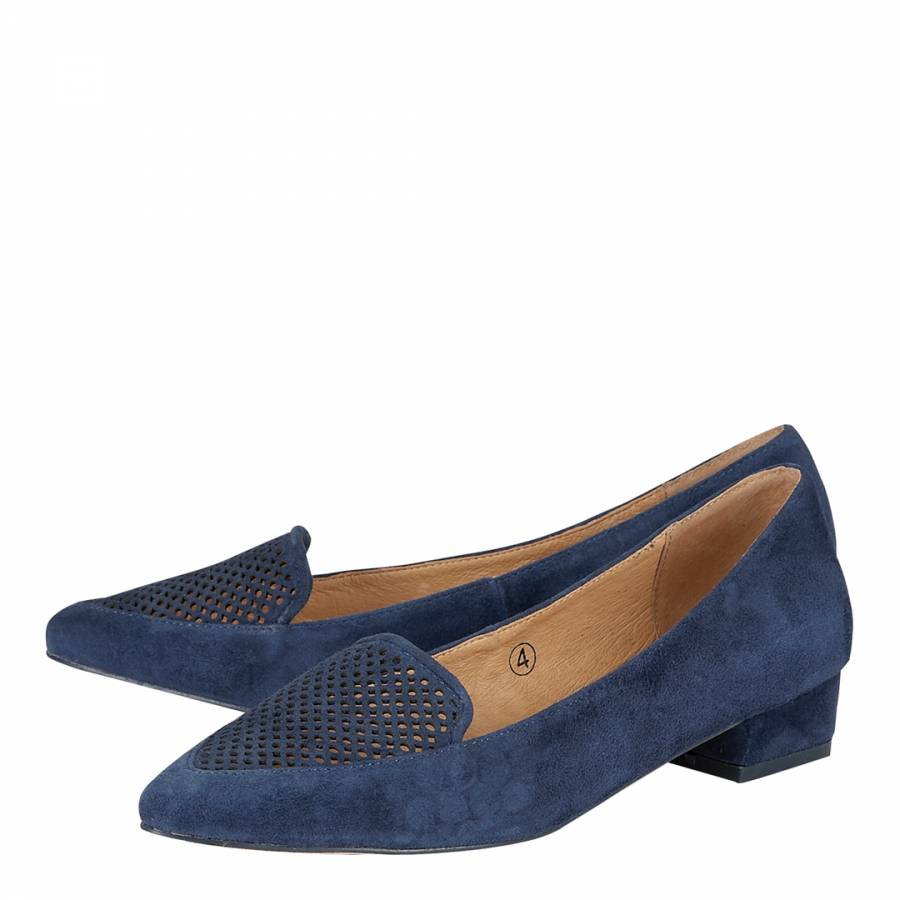 23dd57b61 Navy Suede Anaconda Laser Cut Loafers - BrandAlley