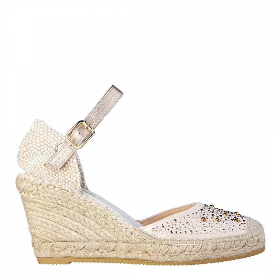4dd83a42a1d Beige Gold Rhinestone Stud Platform Wedge Shoes Heel 9cm - BrandAlley