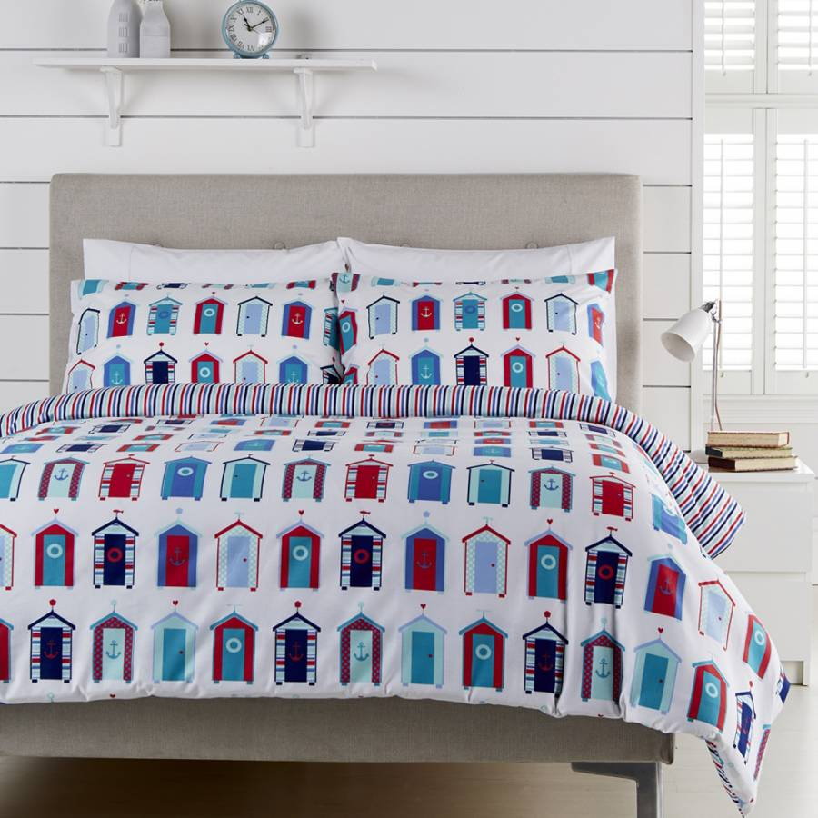 White Multicolour Beach Huts Cotton Kingsize Duvet Set