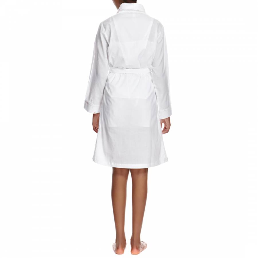 White Embroidered Lou Cotton Dressing Gown - BrandAlley
