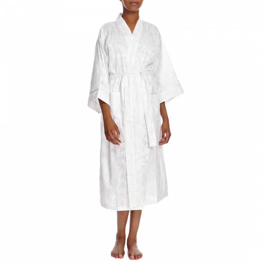White Beth Cotton Kimono Dressing Gown - BrandAlley