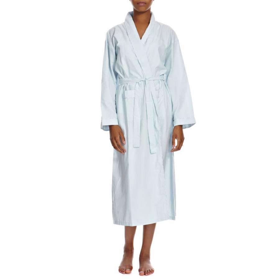 Pale Blue Striped Trim Cotton Dressing Gown - BrandAlley