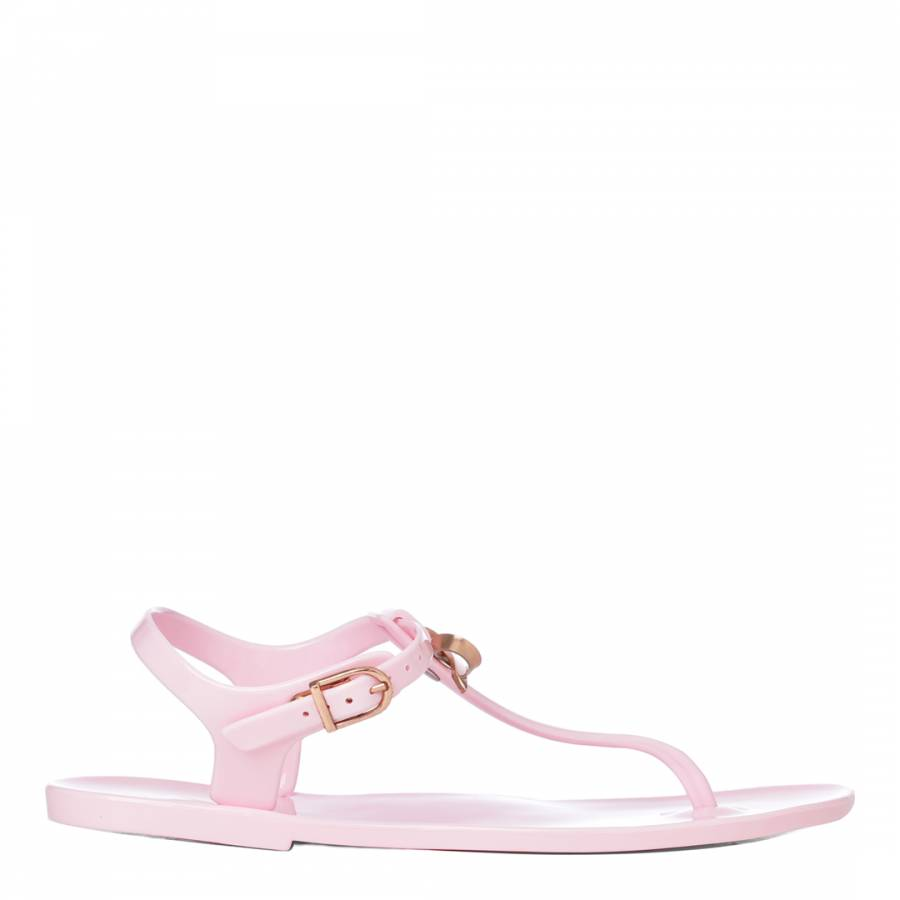 2d4048d5bc109 Pink Rose Gold Verona Bow T Bar Sandals - BrandAlley