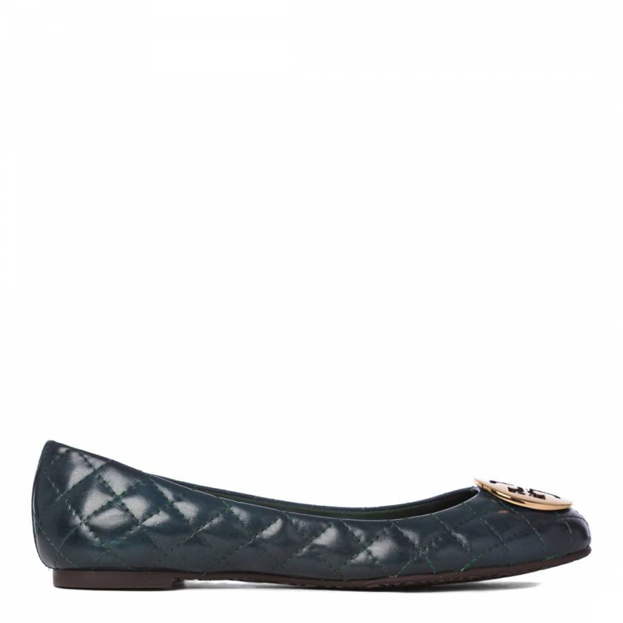 d8fc38fdc Dark Green Leather Quinn Quilted Pumps - BrandAlley