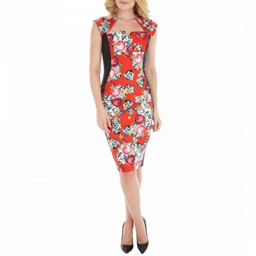 8a9d890a88 The Pretty Dress Company Red Multicolour Alessandra Toulouse Pencil Dress