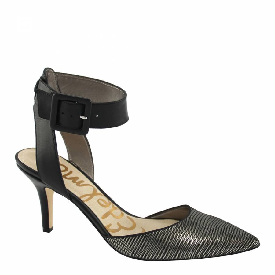 0a0ee73cf027 Zoom · Sam Edelman Black Silver Leather Okala Sandals Heel ...
