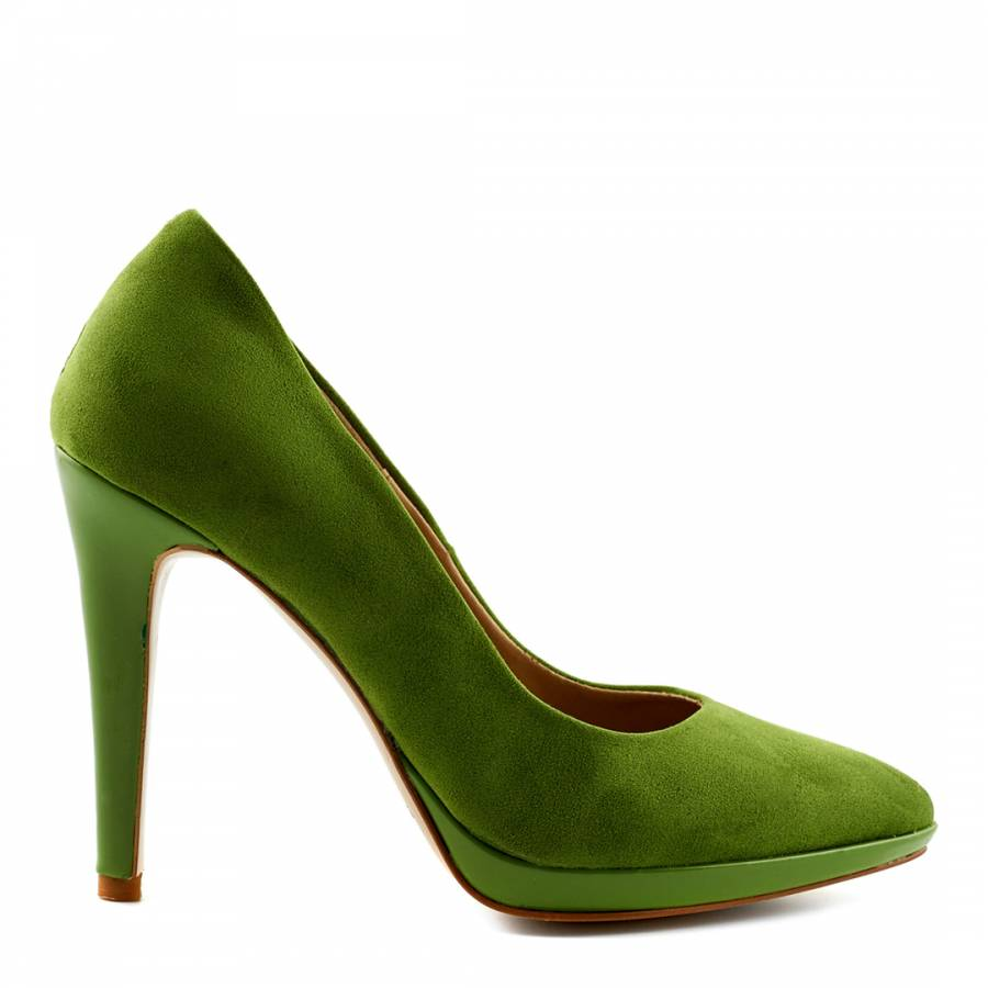 5466a4a9248 Green Suede Platform Court Shoes Heel 11cm - BrandAlley