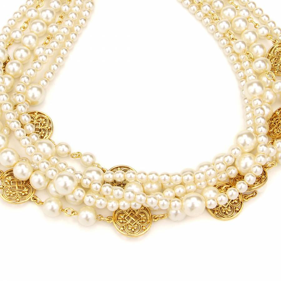 bcf0b49a77a81 Gold/Ivory Multi Strand Glass Pearl Necklace - BrandAlley