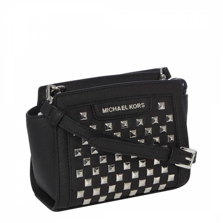 3a85e0017e43 Michael Kors Black Leather Studded Mini Selma Cross Body Bag