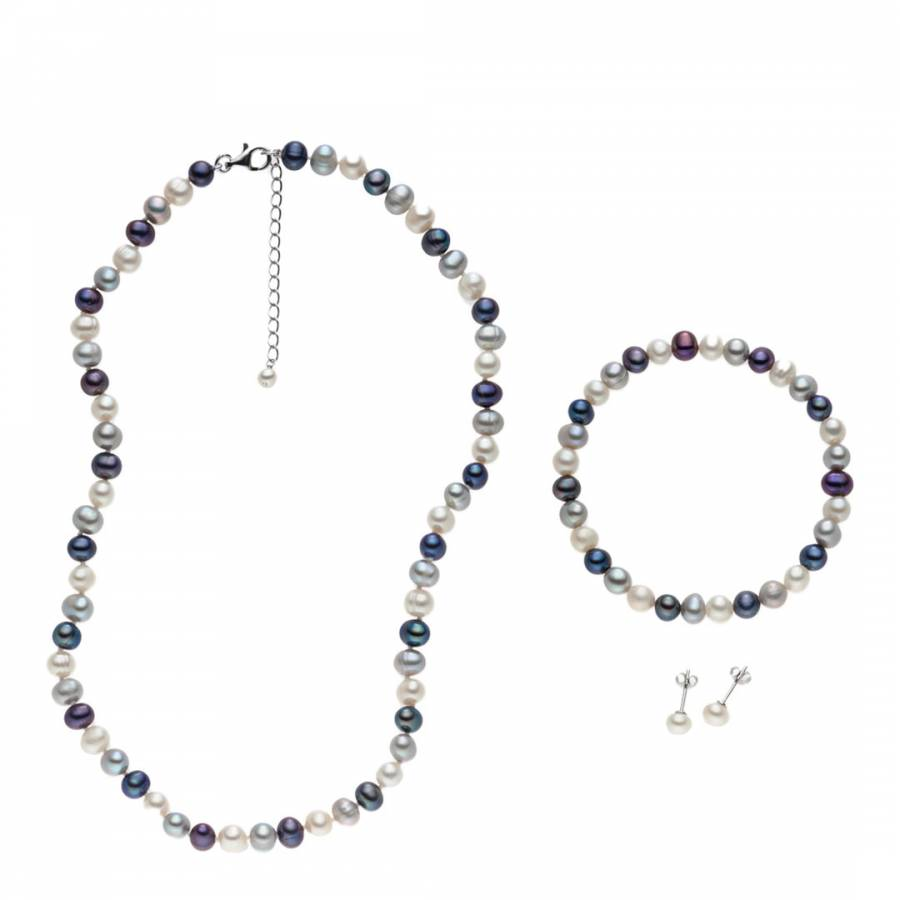 5d346960e91f8d Set of Three White/Silver/Dark Blue Necklace/Bracelet/Earrings ...