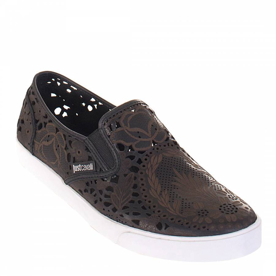huge discount 5199d 61a69 Just Cavalli Brown/Black Leather Slip On Shoes
