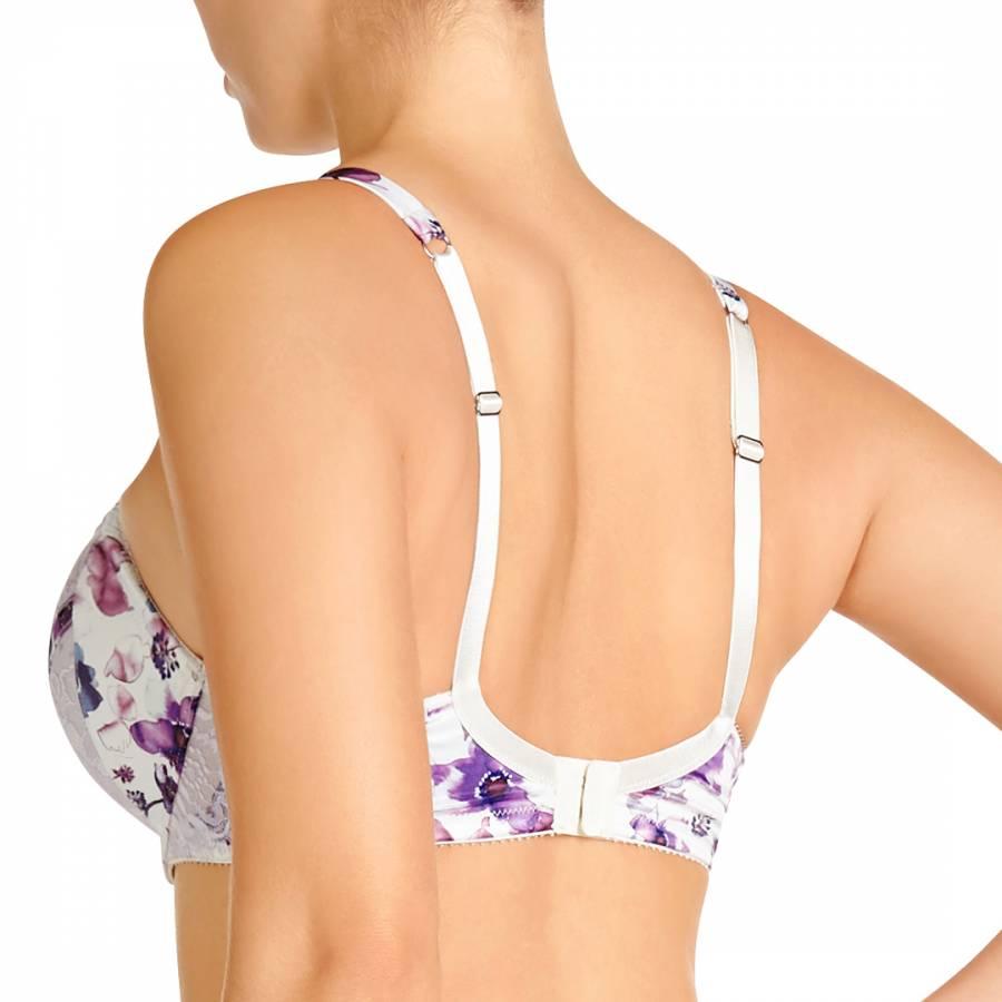 38a498a3ab144 White/Purple Lace/Satin Ellie Serena Contour Balconette Bra - BrandAlley
