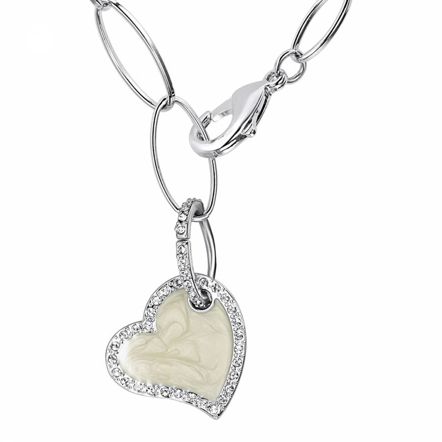 Image of Silver/Beige Heart Pendant Swarovski Crystal Elements Necklace