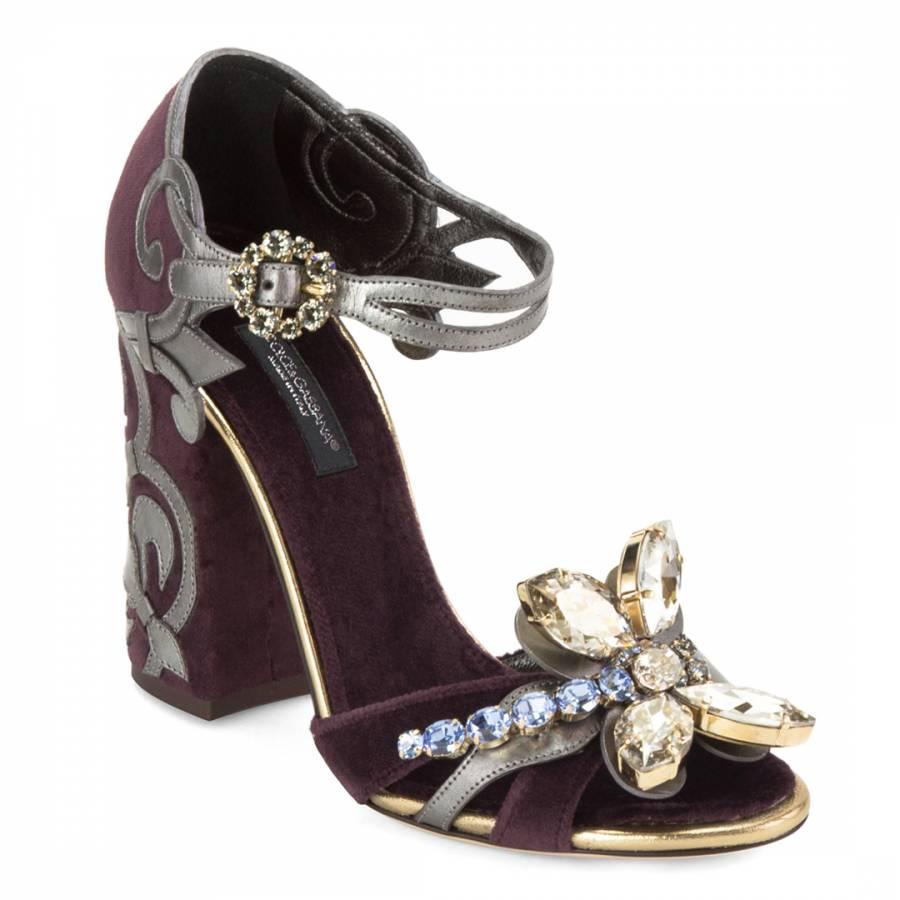 0a2e1358a6e Dark Purple Suede Crystal Shoes Heel 10cm - BrandAlley
