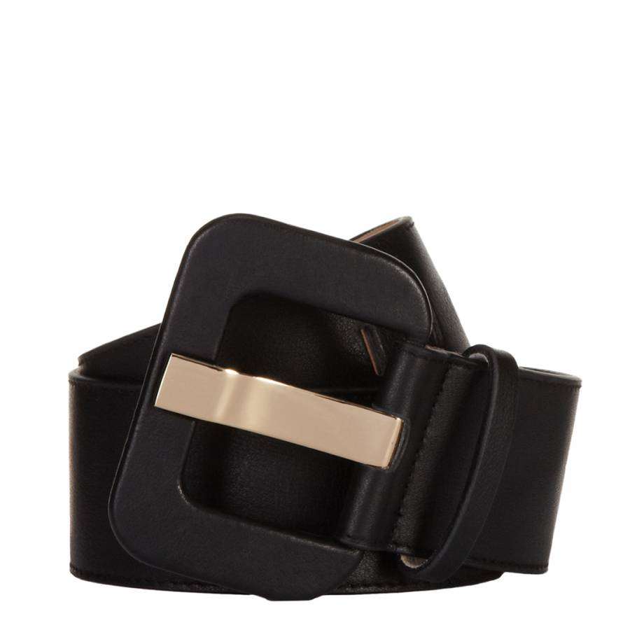 675416012 Black Leather Wide Waist Belt - BrandAlley