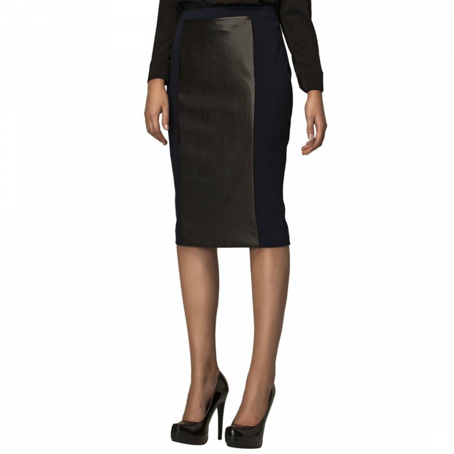 navy leather look stretch pencil skirt brandalley