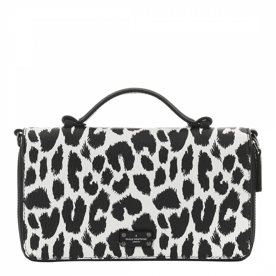 83506a5ba79 Paul s Boutique Black White Pandora Graphic Leopard Print Clutch Bag