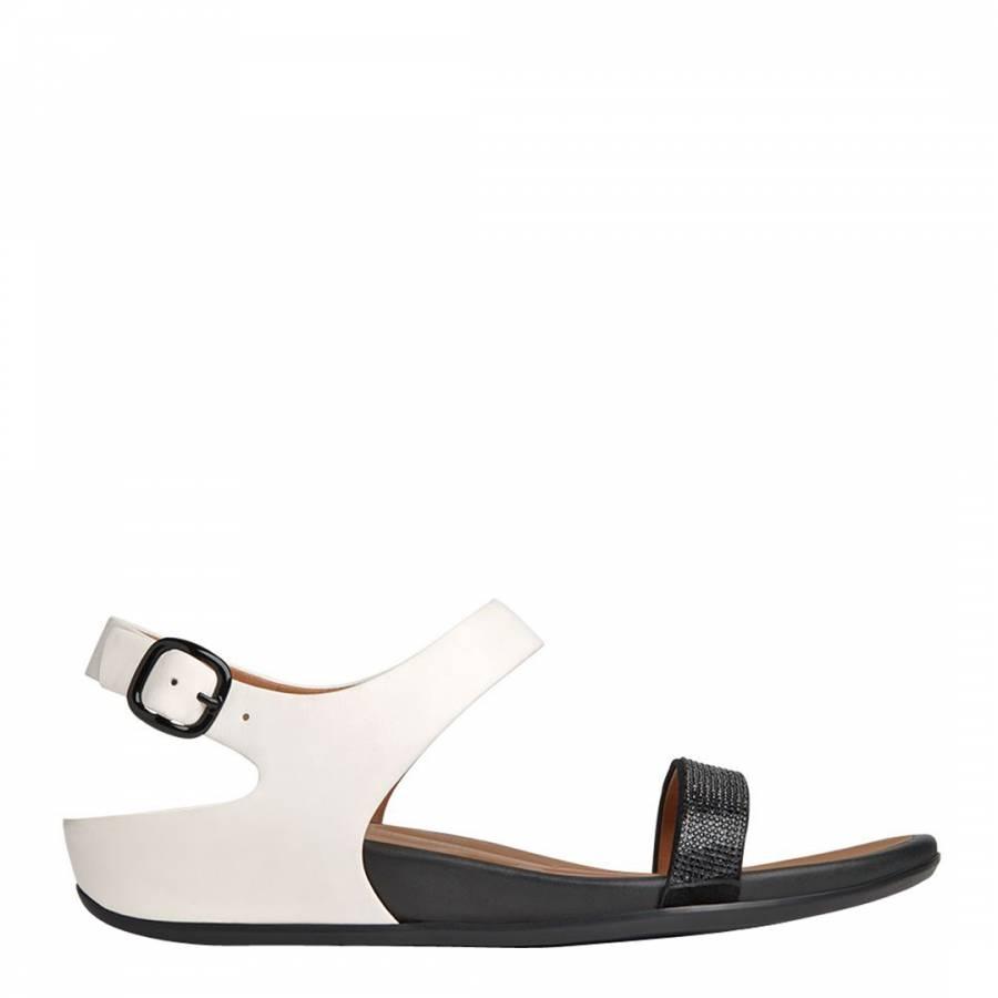 503a78eda Women s Black White Leather Banda Micro Crystal Sandals - BrandAlley