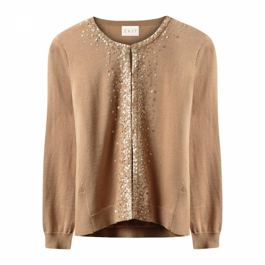 Gold Sequin Cotton Cardigan - BrandAlley
