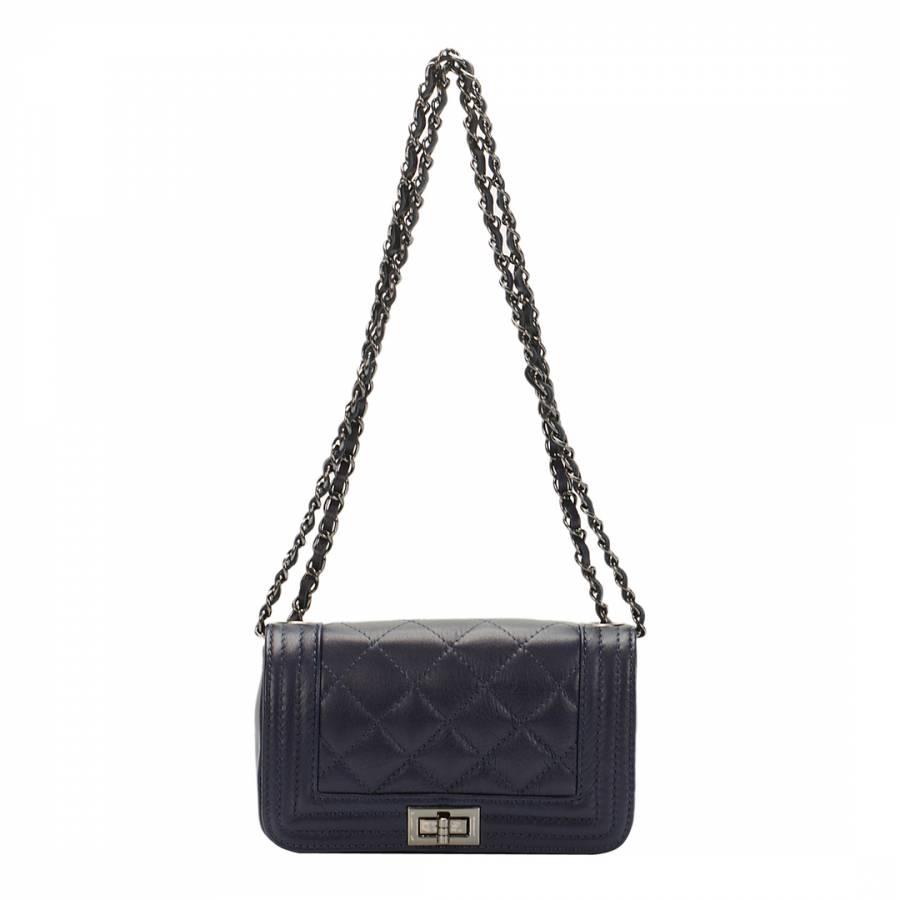 c8895391a000 Giulia Massari Navy Leather Chain Strap Shoulder Bag