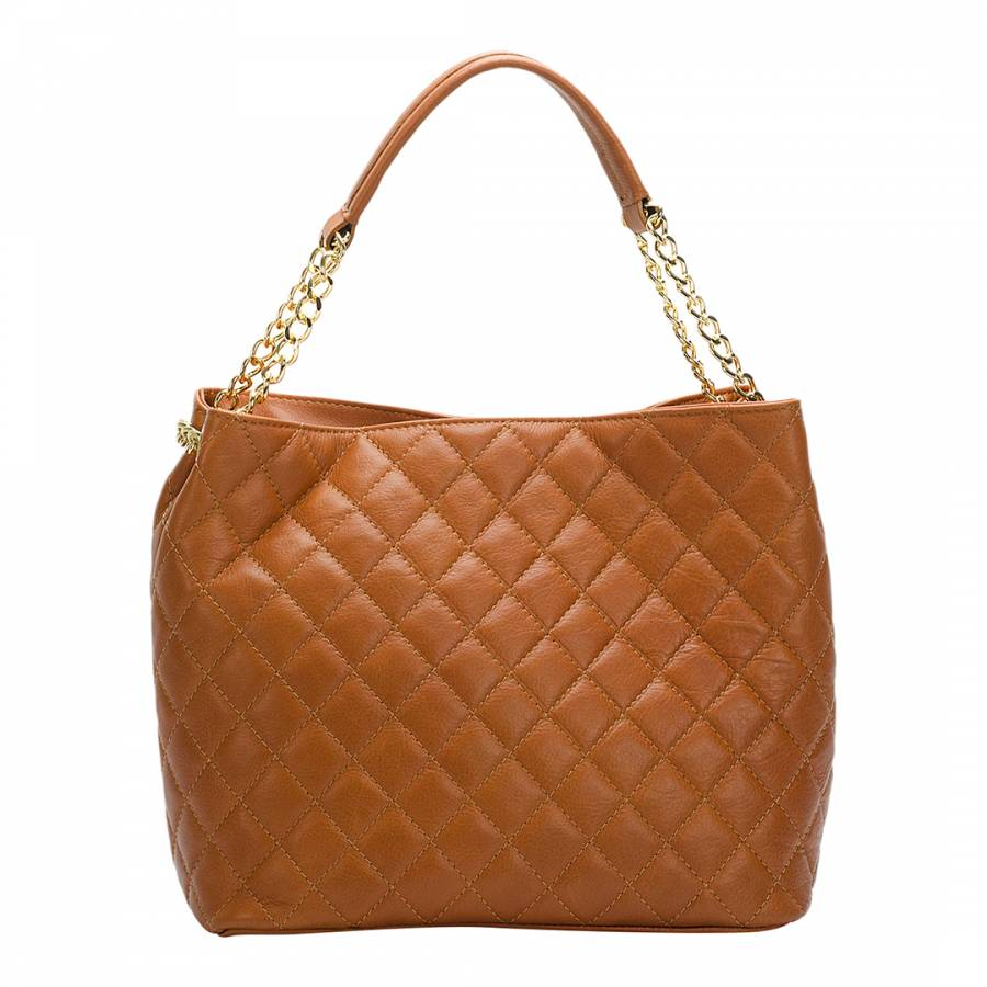 Tan Leather Quilted Chain Bag - BrandAlley dc098d8f1e966
