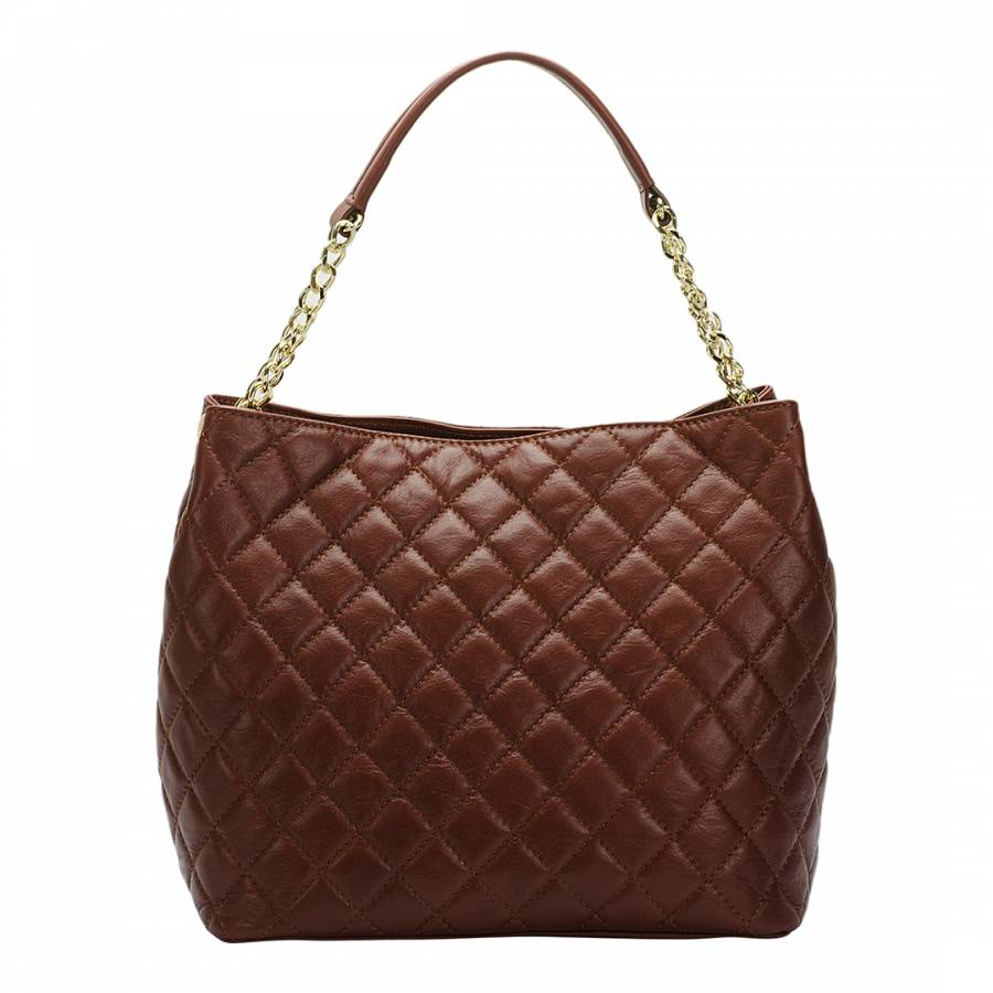 Brown Leather Quilted Chain Bag - BrandAlley d6f76e7d9d1a0