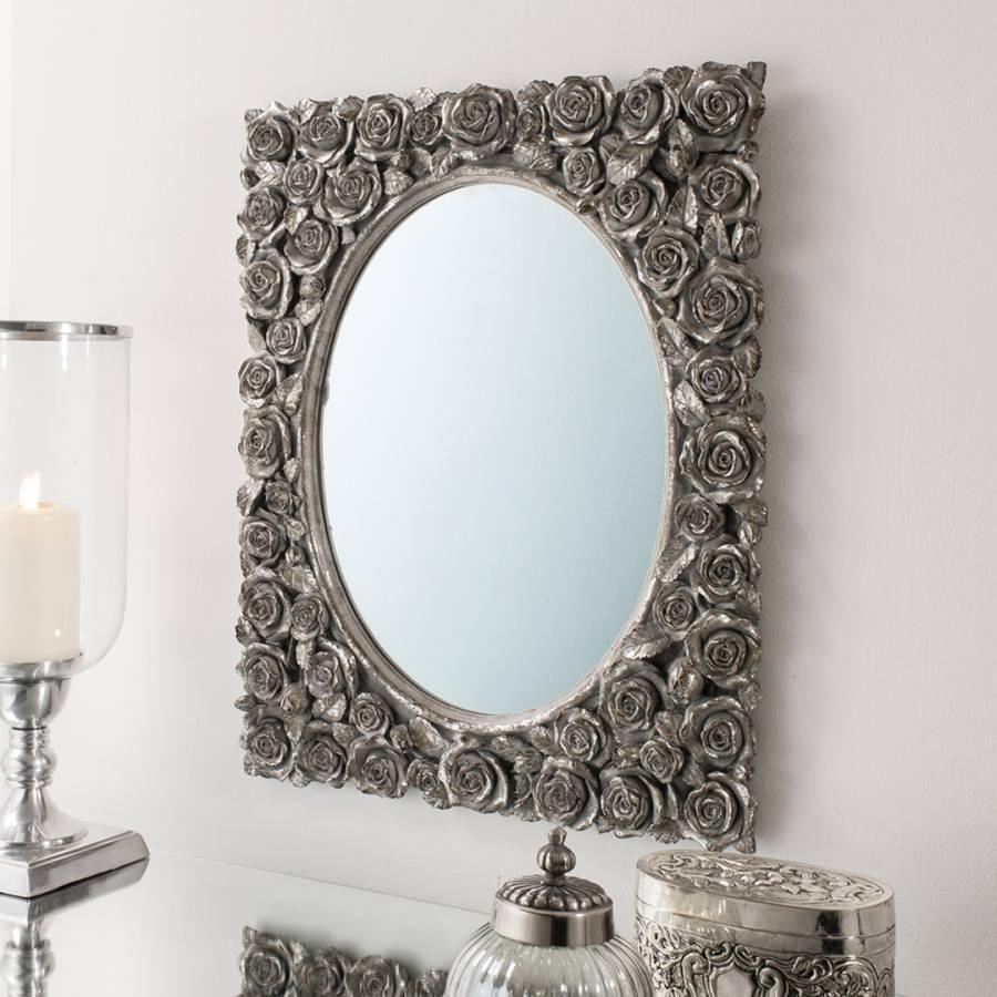 set of two silver roses rectangular mirror