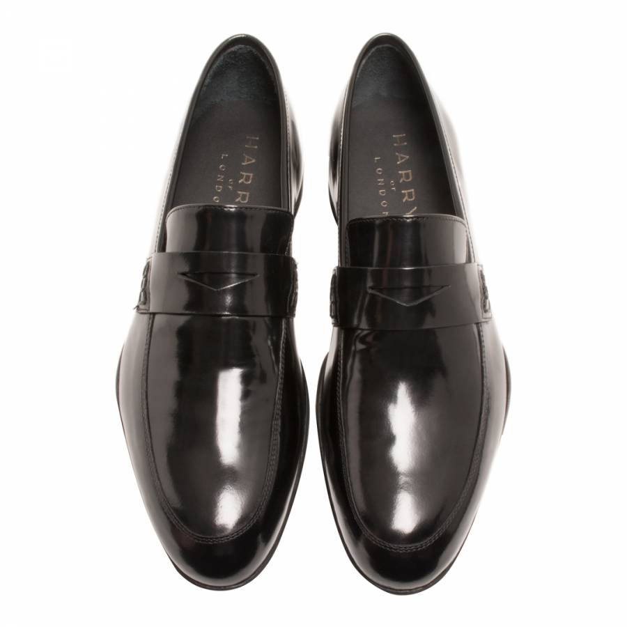 277b4f04049d Black/Blue Sole Leather Dermot Gloss Loafers - BrandAlley
