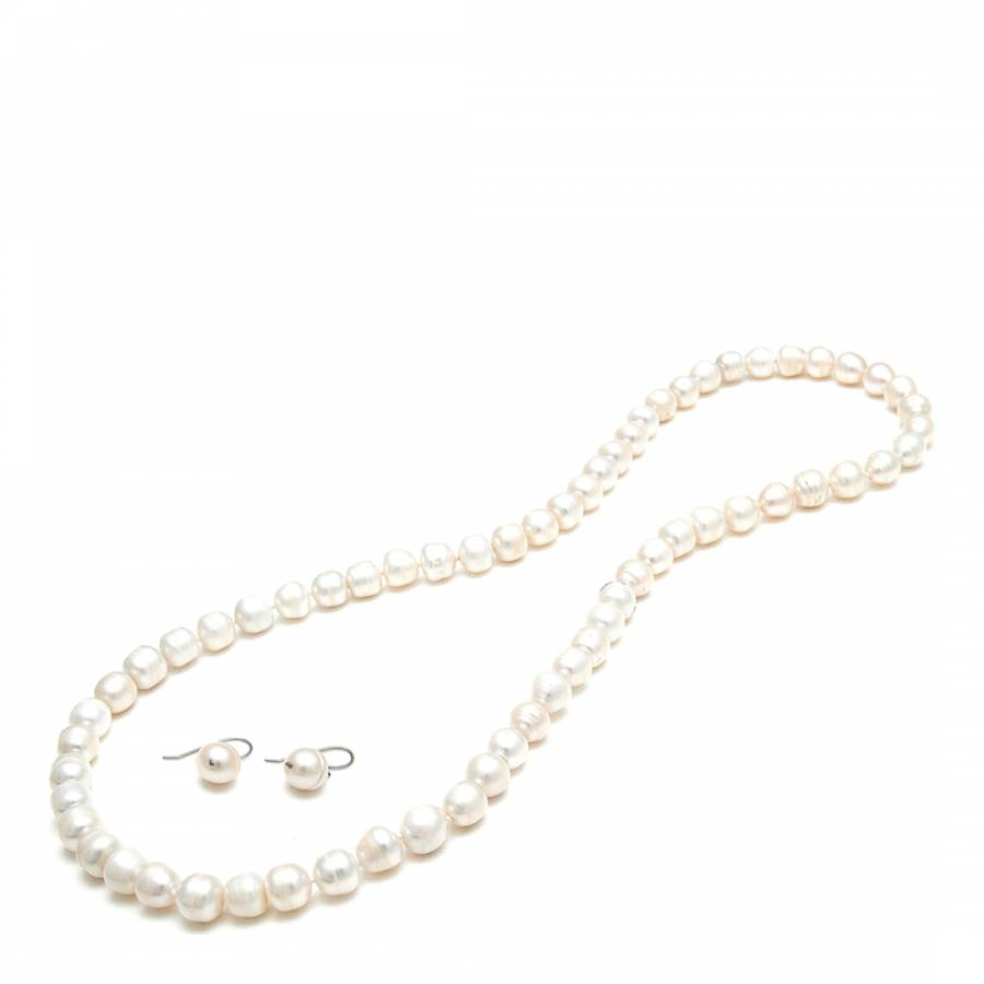 White Freshwater Pearl Necklace Earrings Set Brandalley