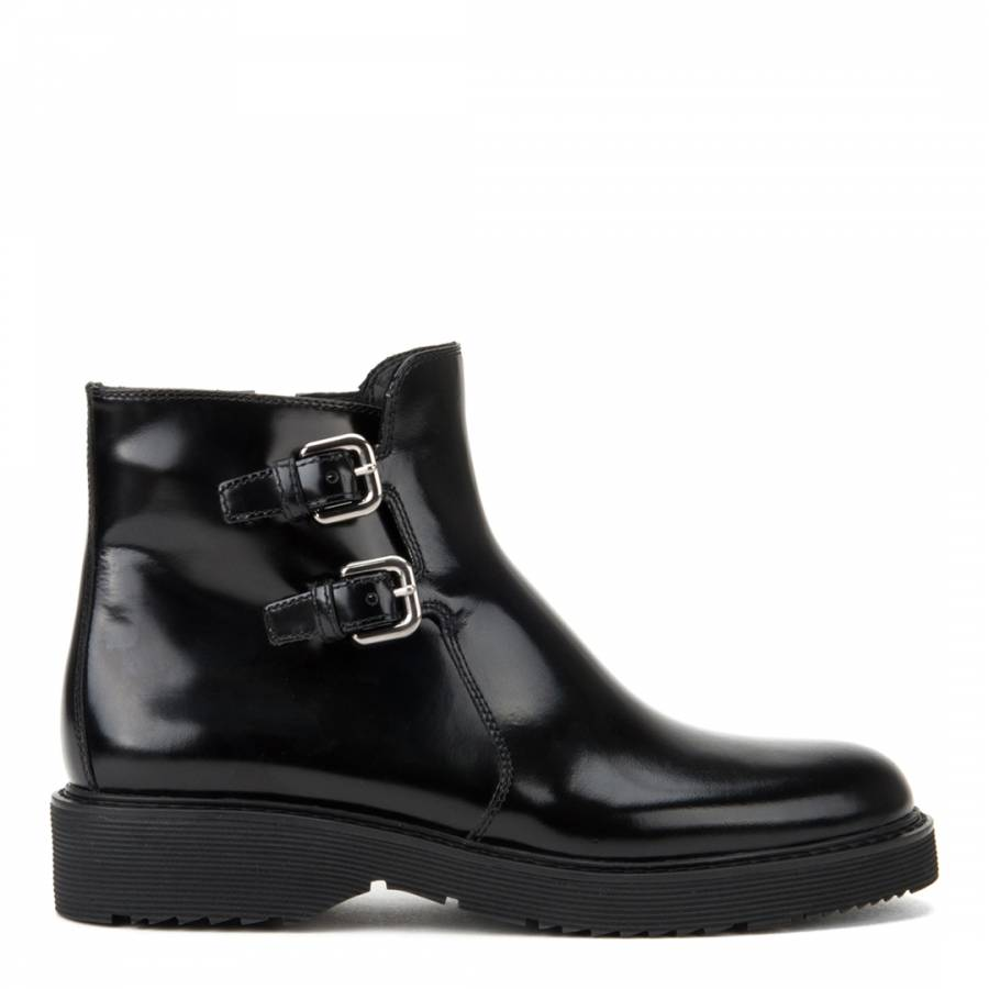 7f9040bdf319 Women s Black Leather Buckle Ankle Boots Heels - BrandAlley
