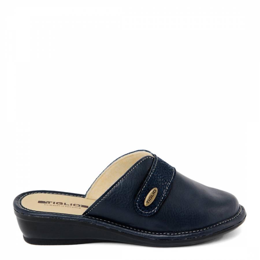 Ladies Navy Mule Slippers With Wedge Heel