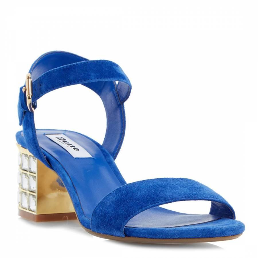 d9d8c3b4583d Dune Blue Suede Harah Block Heel Sandals Heel 6cm. prev. next. Zoom