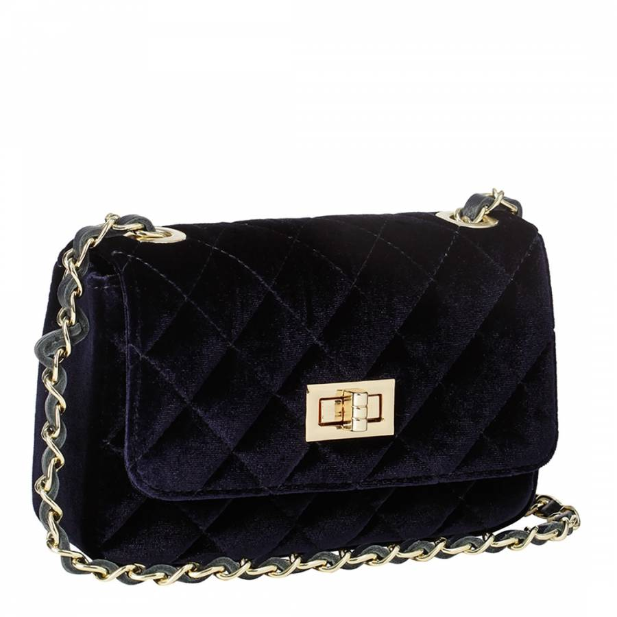 b328b06342 Massimo Castelli. Navy Velvet Diamond Stitch Shoulder Bag