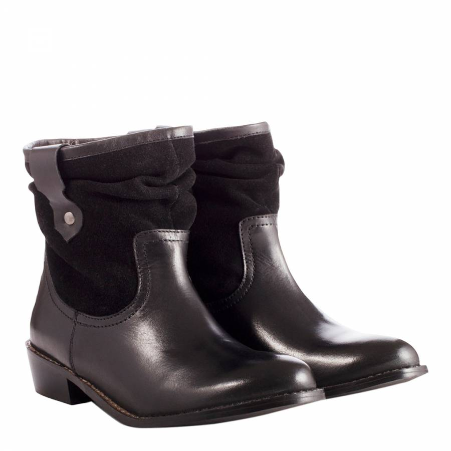 4afeb9c5b62 Ladies Black Leather Slouch Ankle Boots