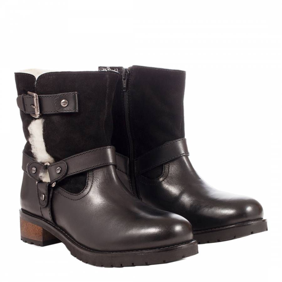 0cdd5b1902ff Black Leather Biker Ankle Boots - BrandAlley