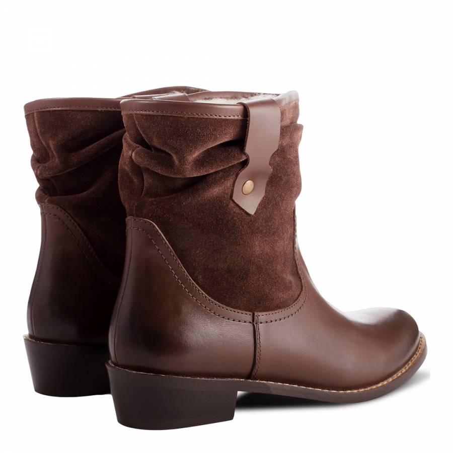 d0eb2855af1 Redfoot Brown Leather Slouch Ankle Boots Heel 5cm