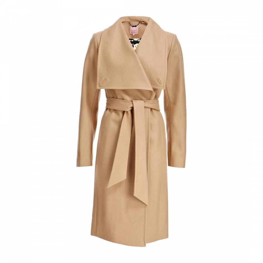 4f2fca51 Camel Danita Wrap Wool/Cashmere Blend Coat - BrandAlley