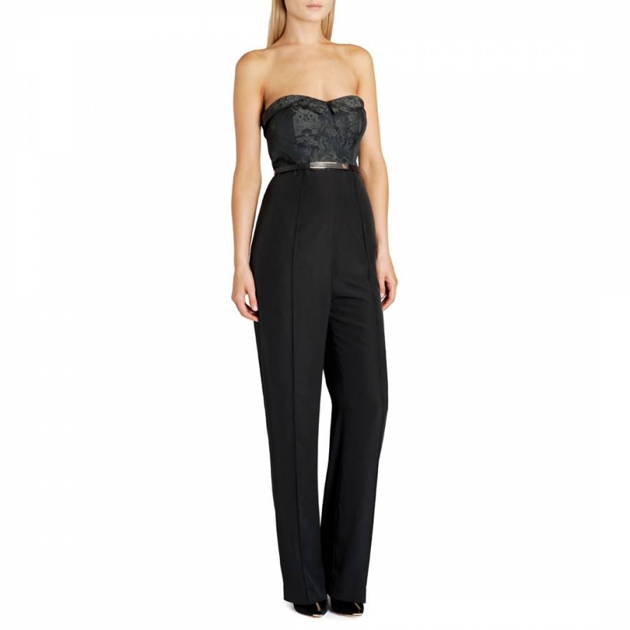 144220bd4d3 Black Karlina Textured Bustier Jumpsuit - BrandAlley