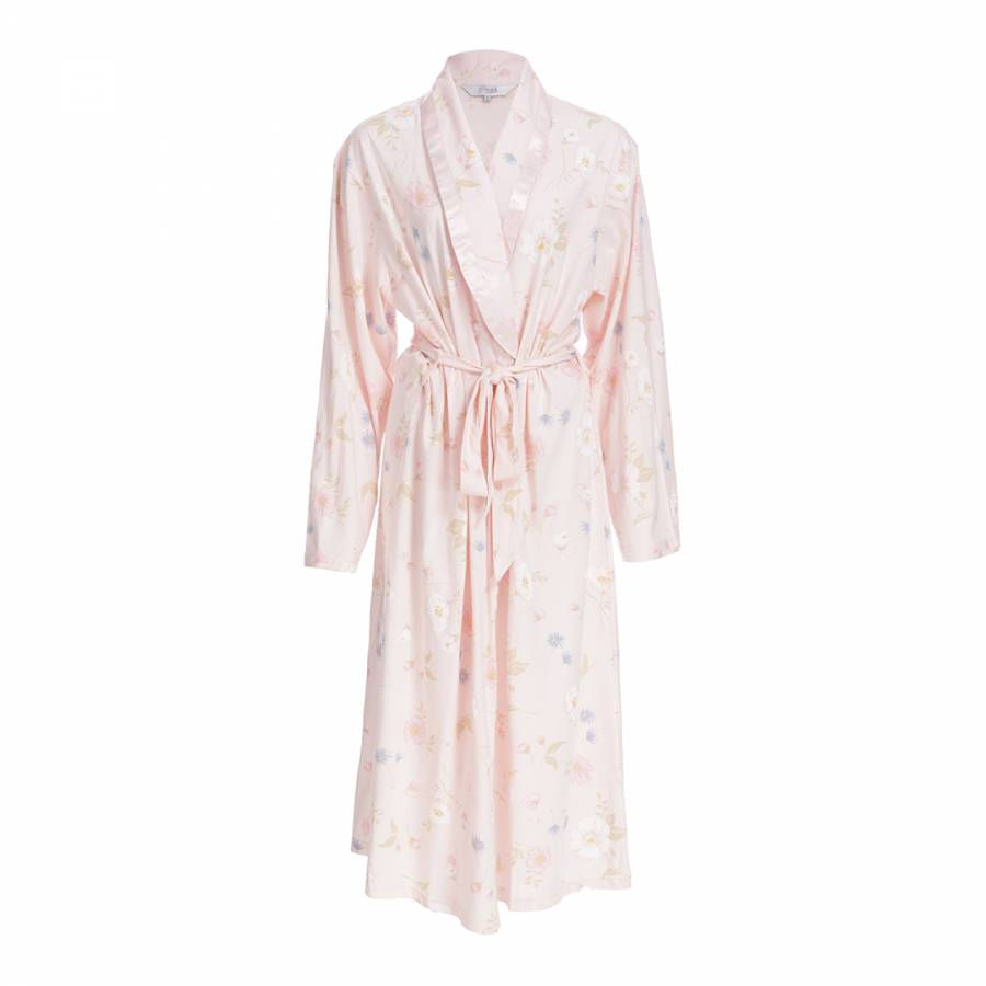 Cottonreal Pale Pink Deluxe Jersey Floral Shawl Collar Cotton Robe · Zoom 570619da9