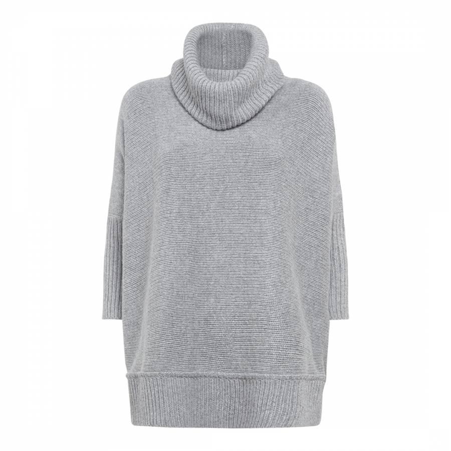 8a295b2af0f Grey Oversized Cowl Neck Wool Cashmere Blend Jumper - BrandAlley