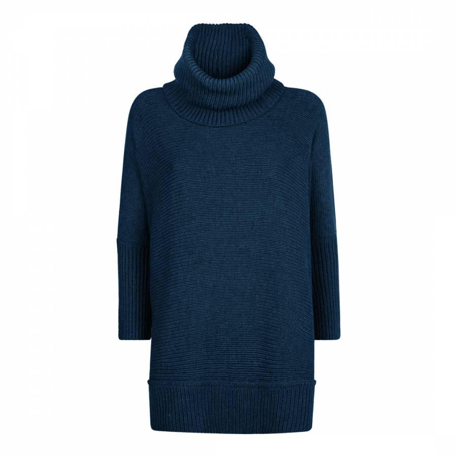 db6ffa8b7c9 Blue Oversized Cowl Neck Wool Cashmere Cotton Blend Jumper - BrandAlley