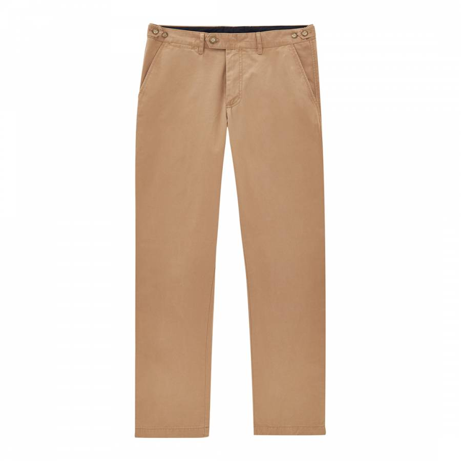 Men S Camel Slim Fit Wrinkle Free Cotton Chinos Brandalley