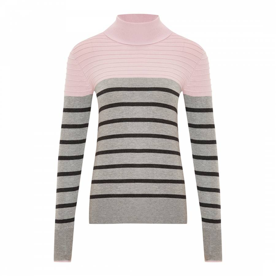 Women S Pink Grey Stripe Roll Neck Jumper Brandalley